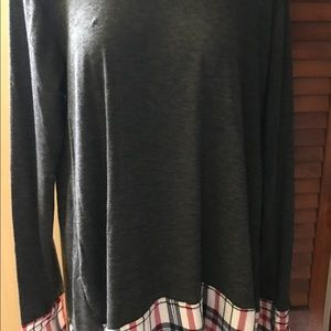 Charcoal Heather Long Sleeve Plaid Tunic